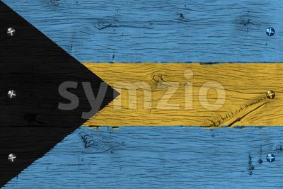 Bahamas national flag painted old oak wood fastened Stock Photo