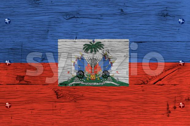 Haiti national flag coat arms painted old oak wood fastened Stock Photo