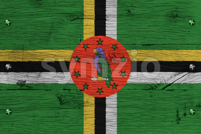 Dominica national flag painted old oak wood fastened Stock Photo