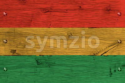 Bolivia civil flag painted old oak wood fastened Stock Photo