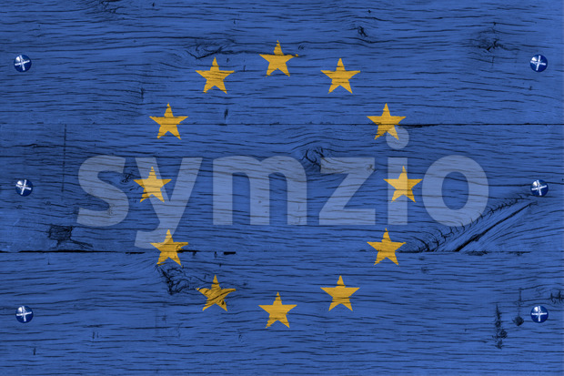 European Union flag painted old oak wood fastened Stock Photo