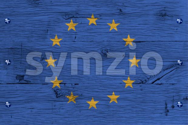 European Union flag painted old oak wood fastened Stock Photo