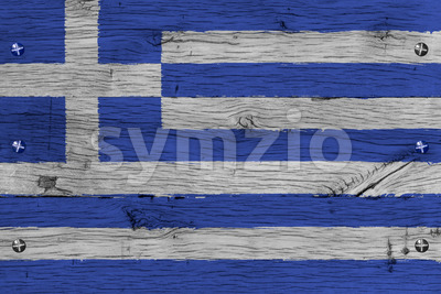 Greece national flag painted old oak wood fastened Stock Photo