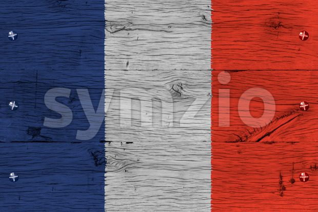 France national flag painted old oak wood fastened Stock Photo