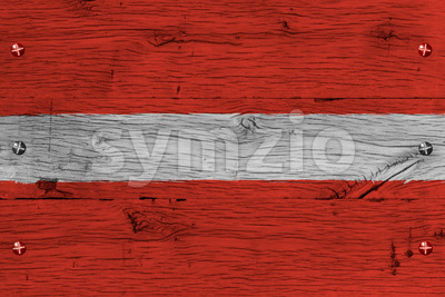 Latvia national flag painted old oak wood fastened Stock Photo