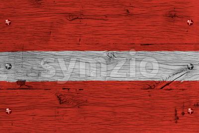 Latvia national flag painted old oak wood fastened Stock Photo
