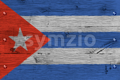 Cuba national flag painted old oak wood fastened Stock Photo