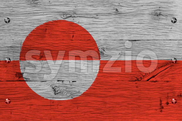 Greenland national flag painted old oak wood fastened Stock Photo