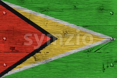Guyana national flag painted old oak wood fastened Stock Photo