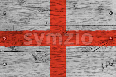 England flag painted old oak wood fastened Stock Photo