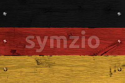 Germany national flag painted old oak wood fastened Stock Photo