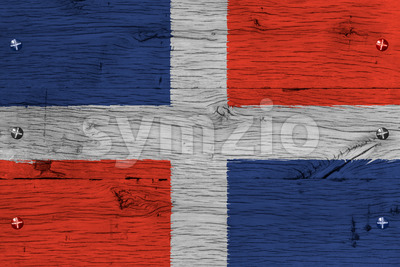 Dominican Republic national flag painted old oak wood fastened Stock Photo