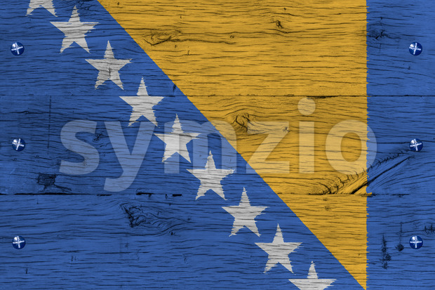 Bosnia and Herzegovina national flag painted old oak wood fasten Stock Photo