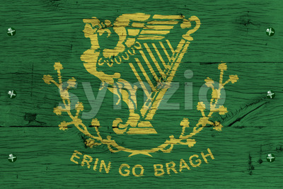 Erin Go Bragh flag painted old oak wood fastened Stock Photo