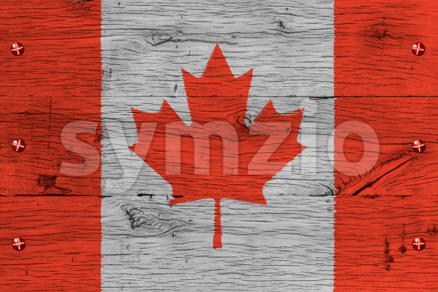 Canada national flag painted old oak wood fastened Stock Photo