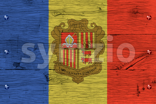 Andorra national flag painted old oak wood fastened Stock Photo