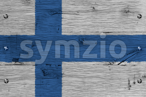 Finland national flag painted old oak wood fastened Stock Photo