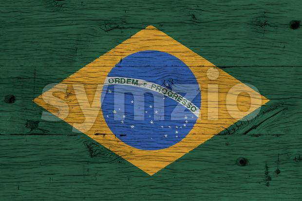 Brazil national flag painted old oak wood Stock Photo