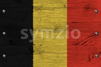 Belgium national flag painted old oak wood fastened Stock Photo