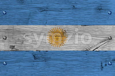 Argentina national flag painted old oak wood fastened Stock Photo