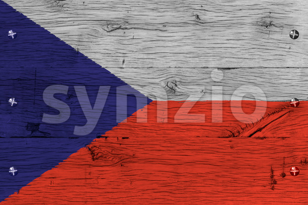 Czech Republic national flag painted old oak wood fastened Stock Photo