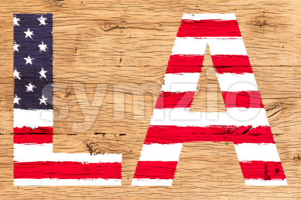 LA painted with pattern of flag United States old oak wood Stock Photo
