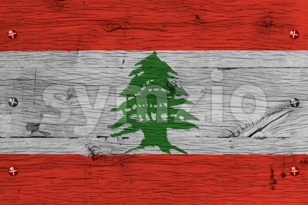 Lebanon national flag painted old oak wood fastened Stock Photo
