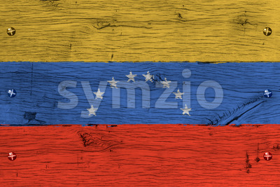 Venezuela national flag painted old oak wood fastened Stock Photo