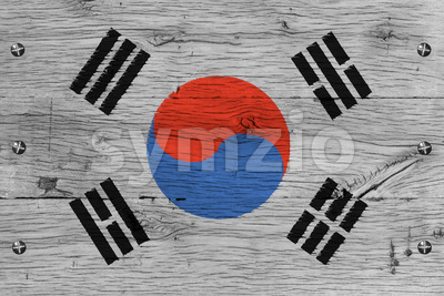 South Korea national flag painted old oak wood fastened Stock Photo