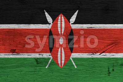 Kenya national flag painted old oak wood Stock Photo