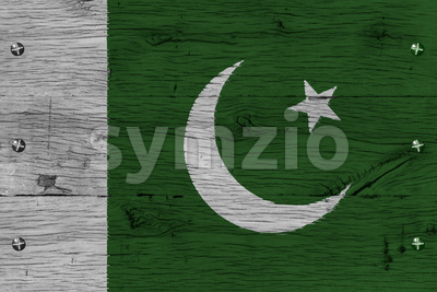 Pakistan national flag painted old oak wood fastened Stock Photo