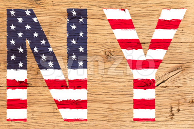 NY painted with pattern of flag United States old oak wood Stock Photo