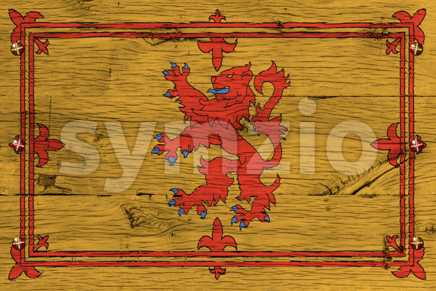 Royal Standard of Scotland flag painted old oak wood fastened Stock Photo