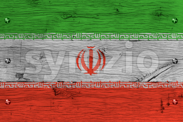 Iran national flag painted old oak wood fastened Stock Photo