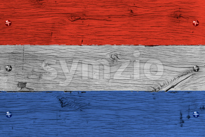 The Netherlands national flag painted old oak wood fastened Stock Photo