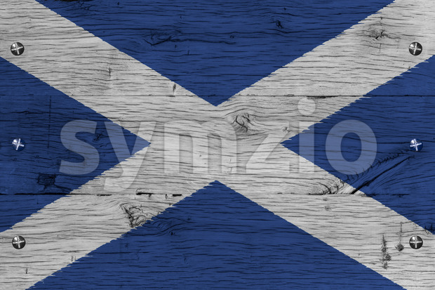 Scotland national flag painted old oak wood fastened Stock Photo