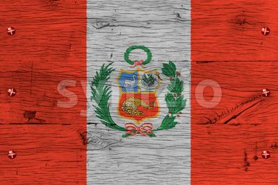 Peru national flag painted old oak wood fastened Stock Photo