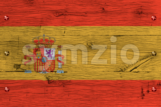 Spain national flag painted old oak wood fastened Stock Photo