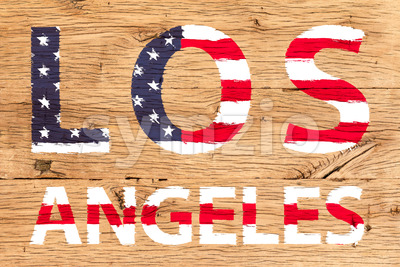 Los Angeles painted with pattern of flag United States old oak wood Stock Photo