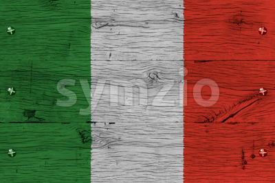 Italy national flag painted old oak wood fastened Stock Photo