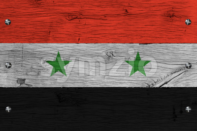 Syria national flag painted old oak wood fastened Stock Photo