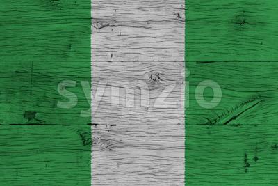 Nigeria national flag painted old oak wood Stock Photo