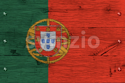 Portugal national flag painted old oak wood fastened Stock Photo