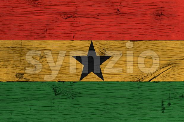 Ghana national flag painted old oak wood Stock Photo