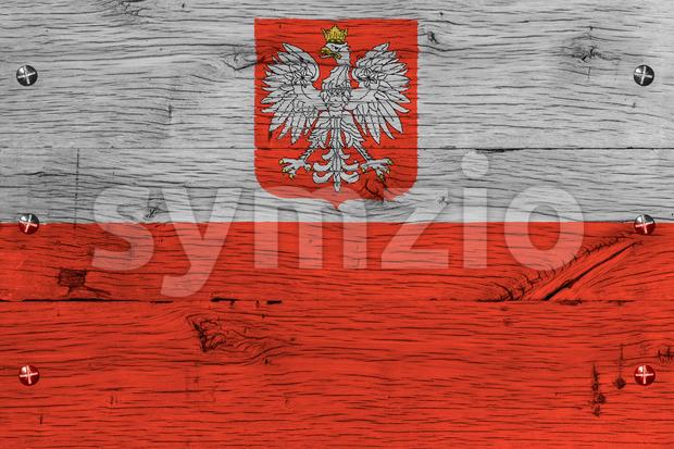 Poland national flag painted old oak wood fastened Stock Photo