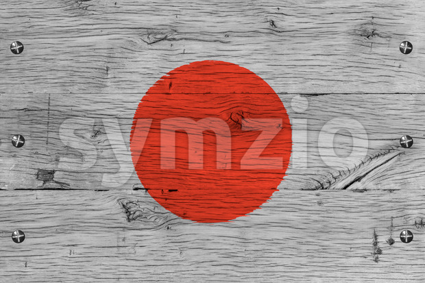 Japan national flag painted old oak wood fastened Stock Photo