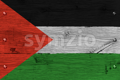 Palestine flag painted old oak wood fastened Stock Photo
