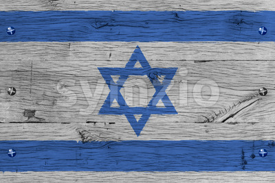 Israel national flag painted old oak wood fastened Stock Photo