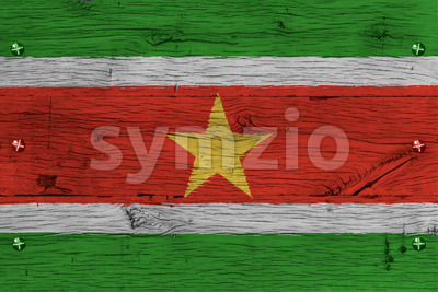 Suriname national flag painted old oak wood fastened Stock Photo