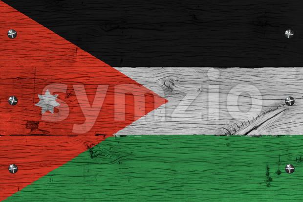 Jordan national flag painted old oak wood fastened Stock Photo